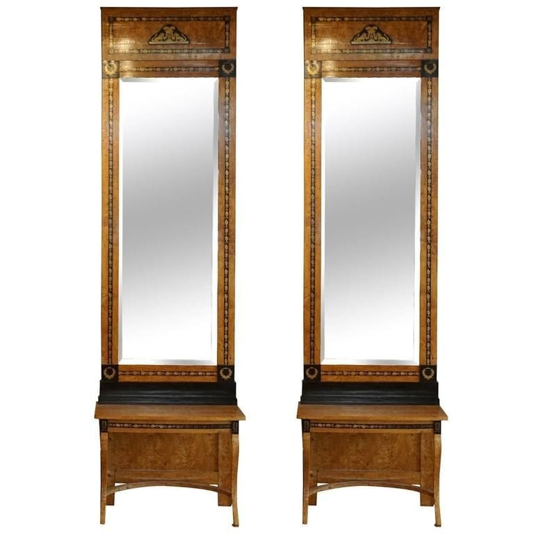 19th Century Pair of Russian Beechwood Mirrors & Consoles