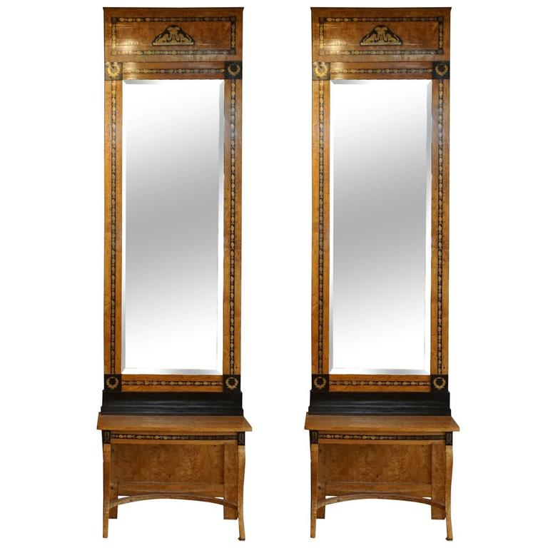 19th Century Pair of Antique Russian Beechwood, Brass Mirrors and Consoles