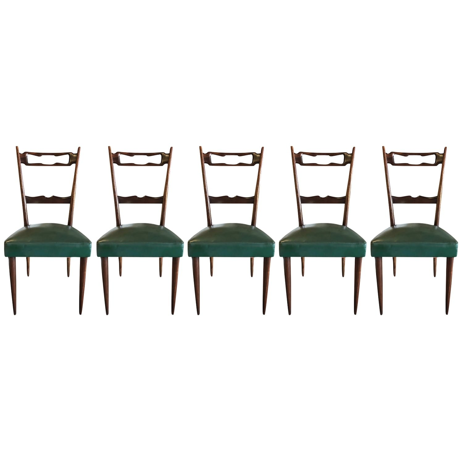 20th Century Italian Set of Five Walnut Dining Chairs by Paolo Buffa