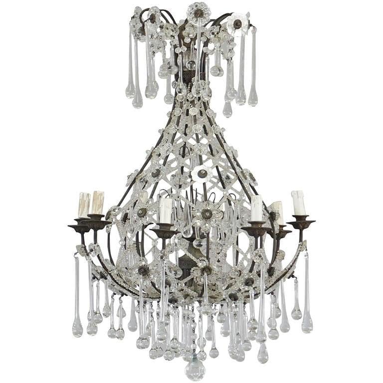 20th Century French Crystal Glass Teardrop Chandelier