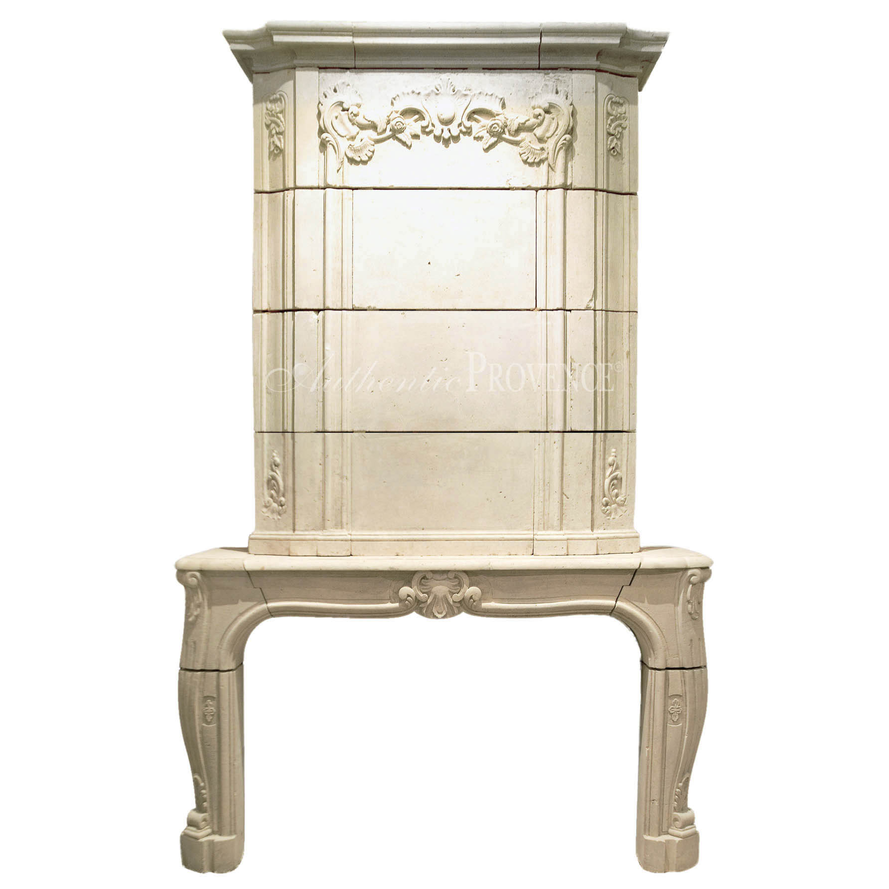 Antique French Limestone Fireplace Mantel: Cheminee Rocailles