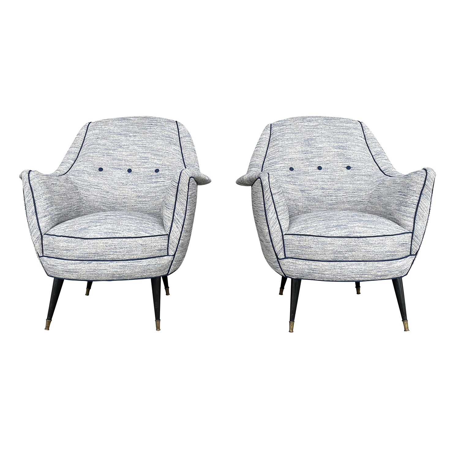 20th Century Light-Blue Italian Pair of Lounge Chairs – Armchairs by Ico Parisi
