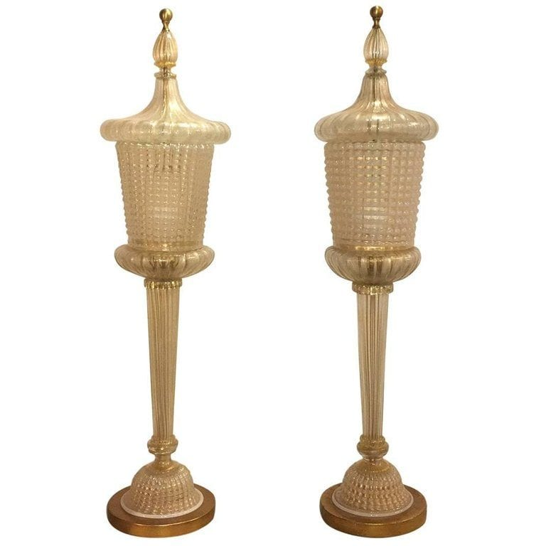 Pair of Barovier & Toso Table Lamps