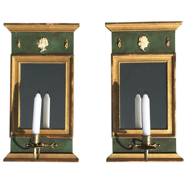 20th Century Swedish Pair of Gustavian Wood Wall Mirrors, Sconces by Kurt Ekvall