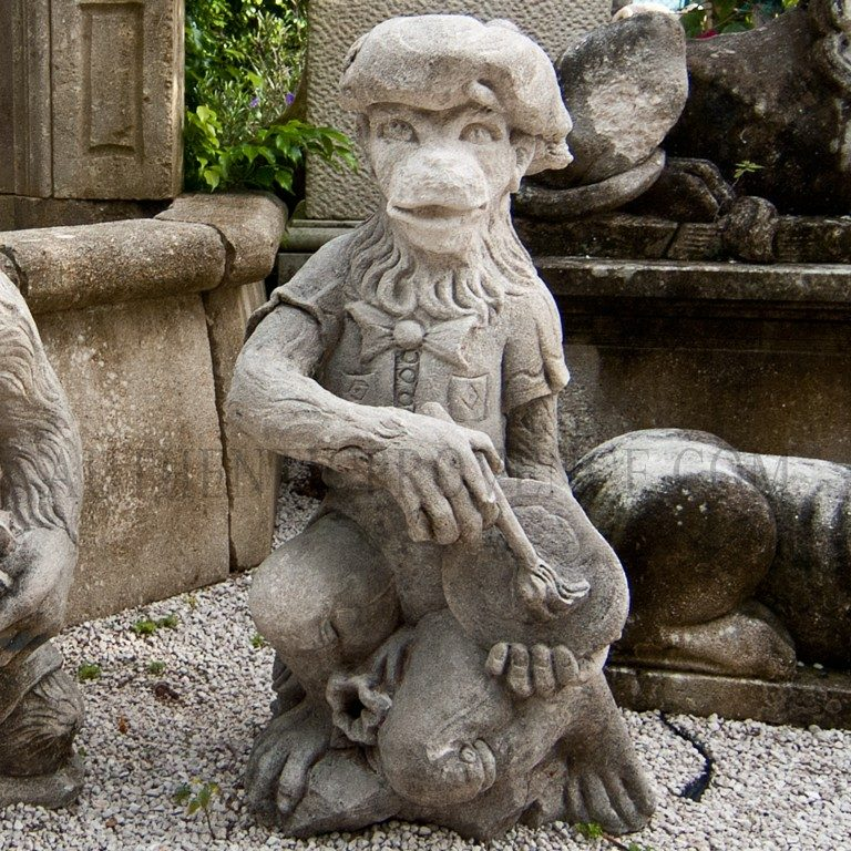 Monkey Painter Statue