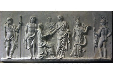 Wall Relief of the Greek Mythology & the Greek Gods Hermes, Dionysus