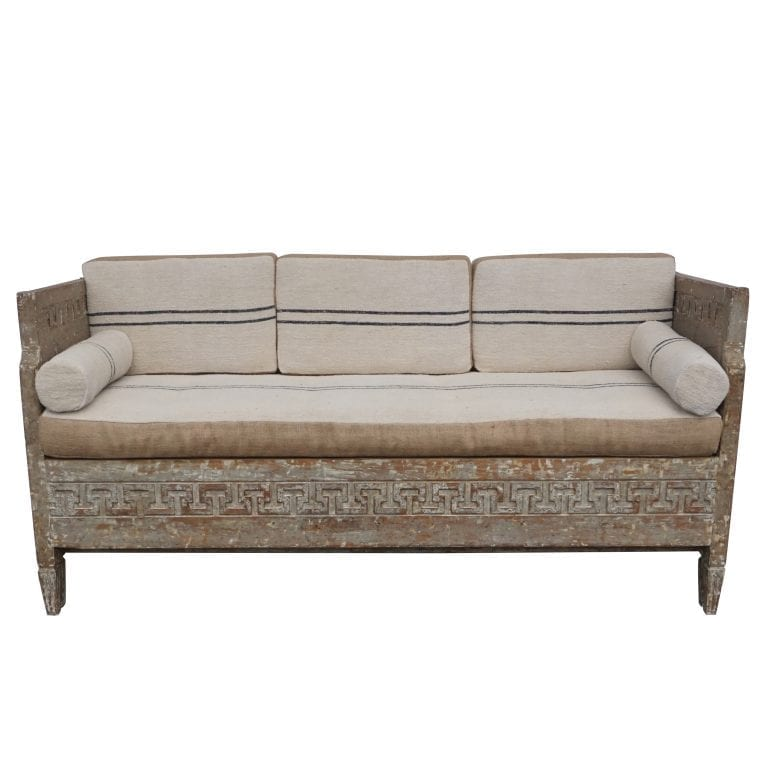 18th Century Lit Du Jour, Swedish Gustavian Pinewood Daybed, Antique Wood Sofa