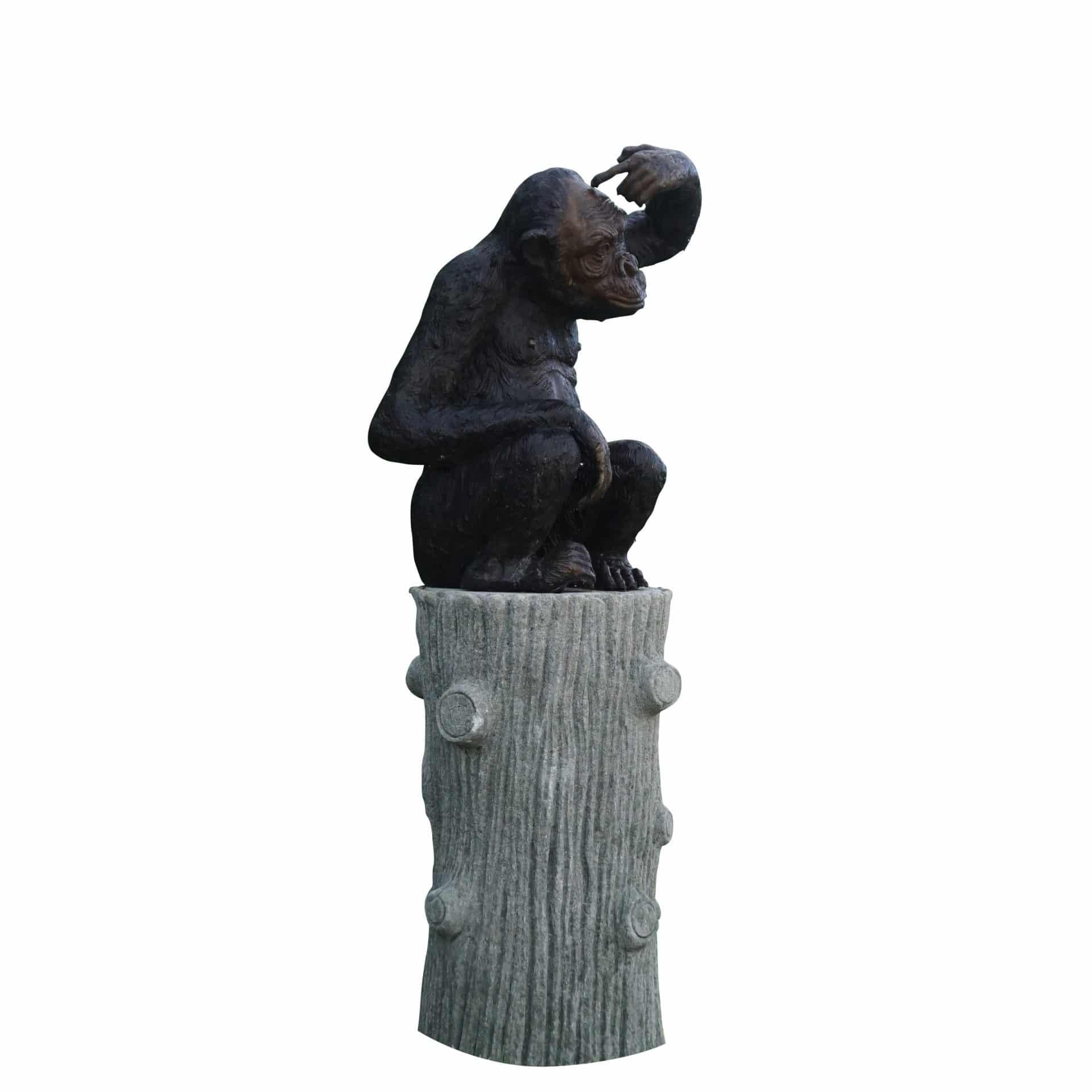 Bronze Monkey Garden Statue