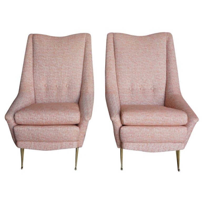 20th Century Italian Pair of Pink Style Lounge Chairs Marco Zanusso