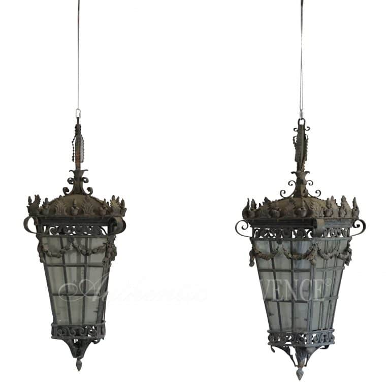 20th Century Pair of Parisian Hanging Lanterns – French Art Deco Iron Lights