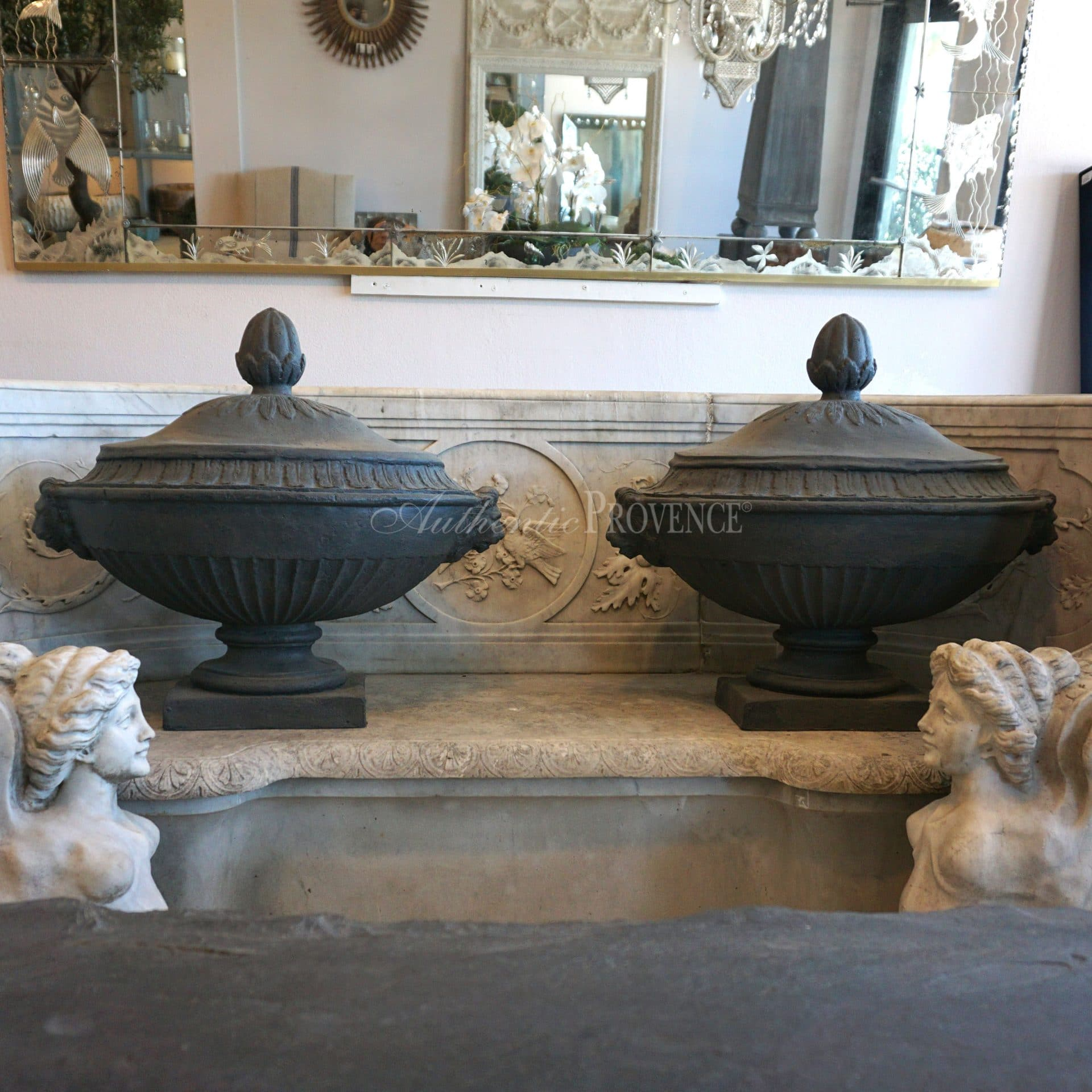 Pair of Neoclassical Lead Urns