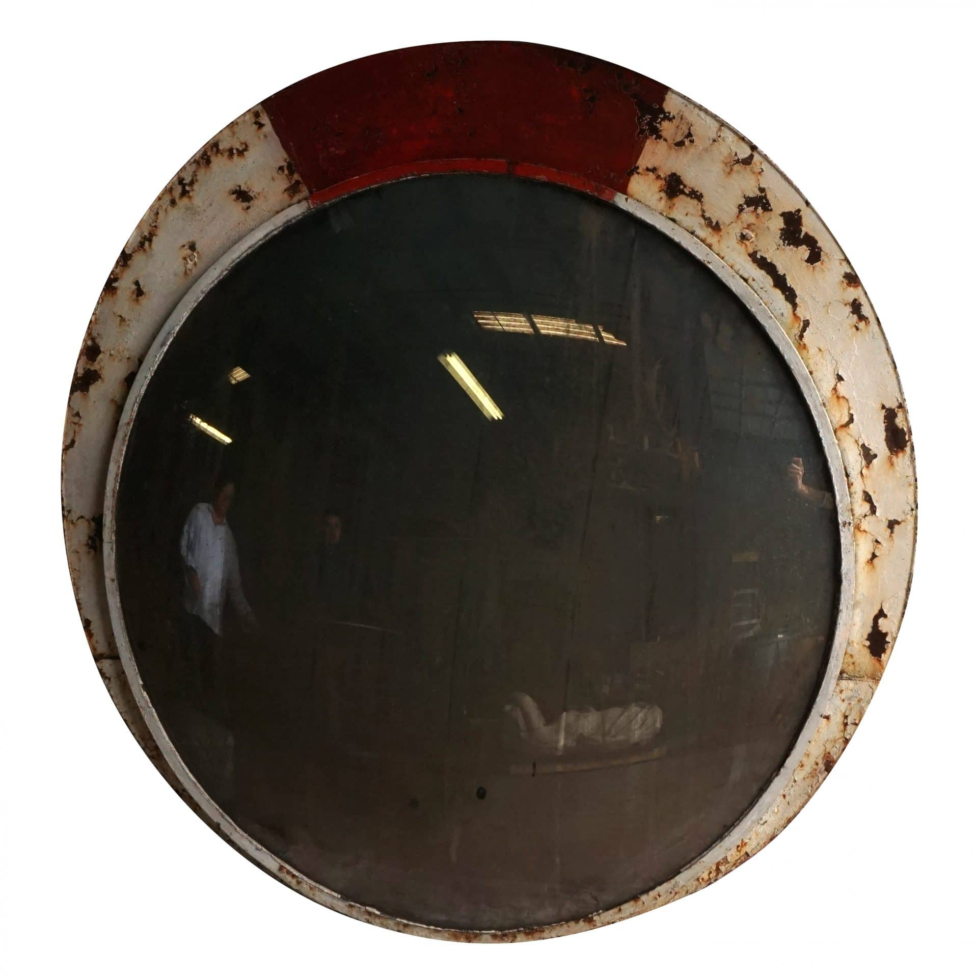 20th Century French Round Industrial Convex Wall Mirror
