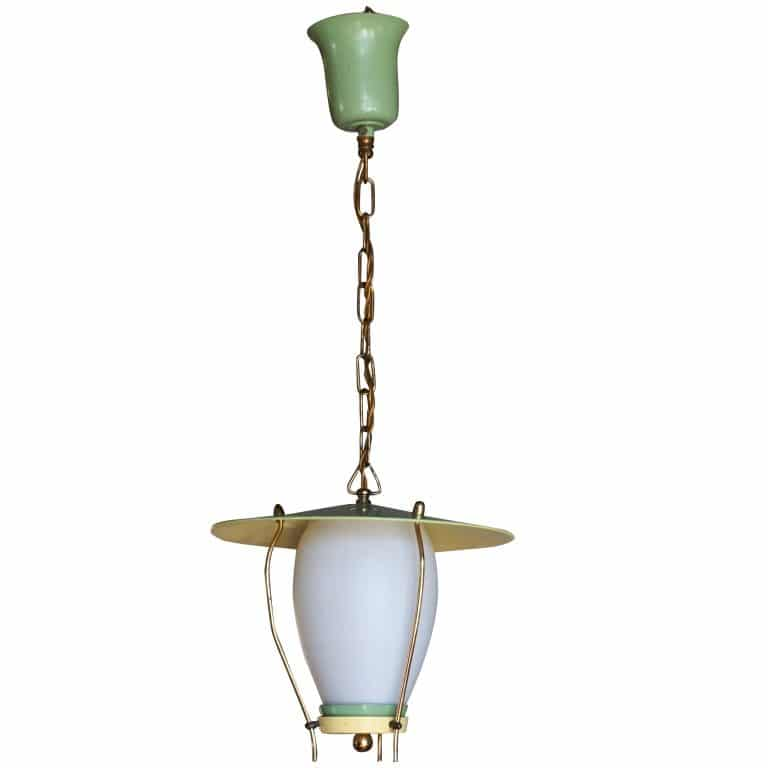 20th Century Italian Green Hanging Lantern – Small Ceiling Light by Stilnovo