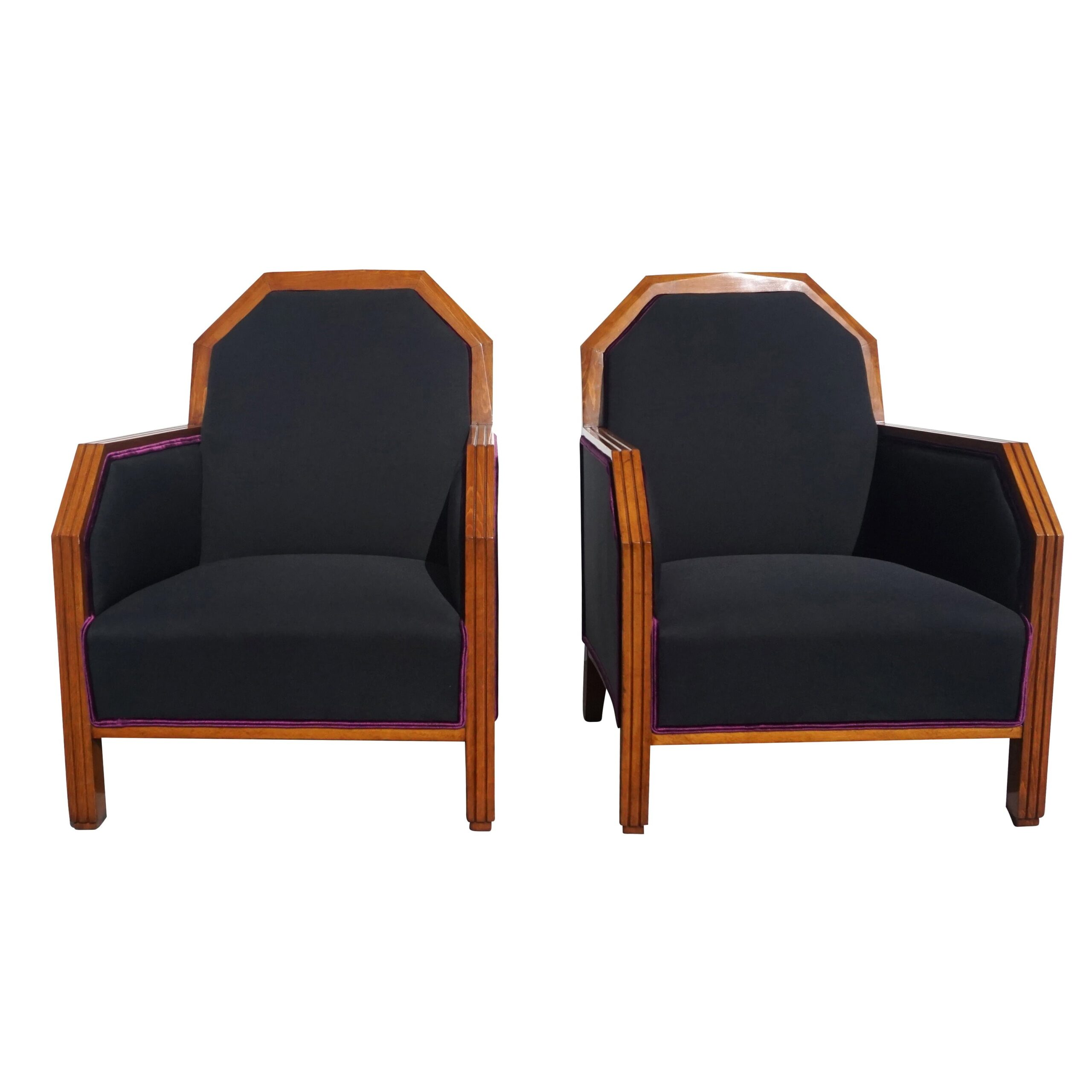 20th Century French Art Deco Club Chairs – Black Linen Corner Chairs
