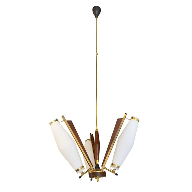 20th Century Italian Brass, Opaline Glass Three Armed Chandelier by Stilnovo