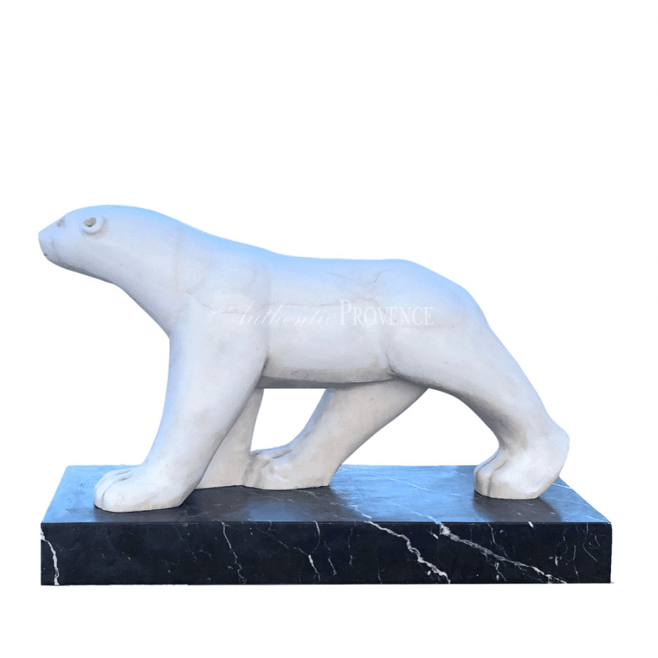 20th Century White French Marble Polar Bear in the Manner of Francois Pompon