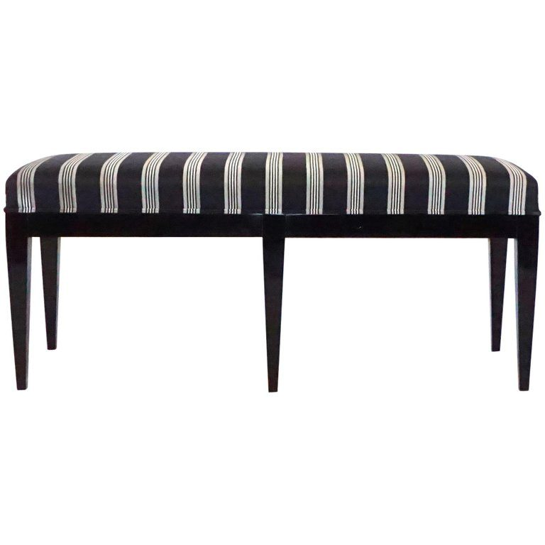 20th Century Italian Black Neoclassical Style Bench