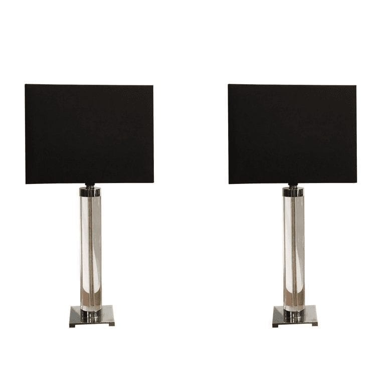 20th Century American Pair of Chrome Table Lamps by Hansen
