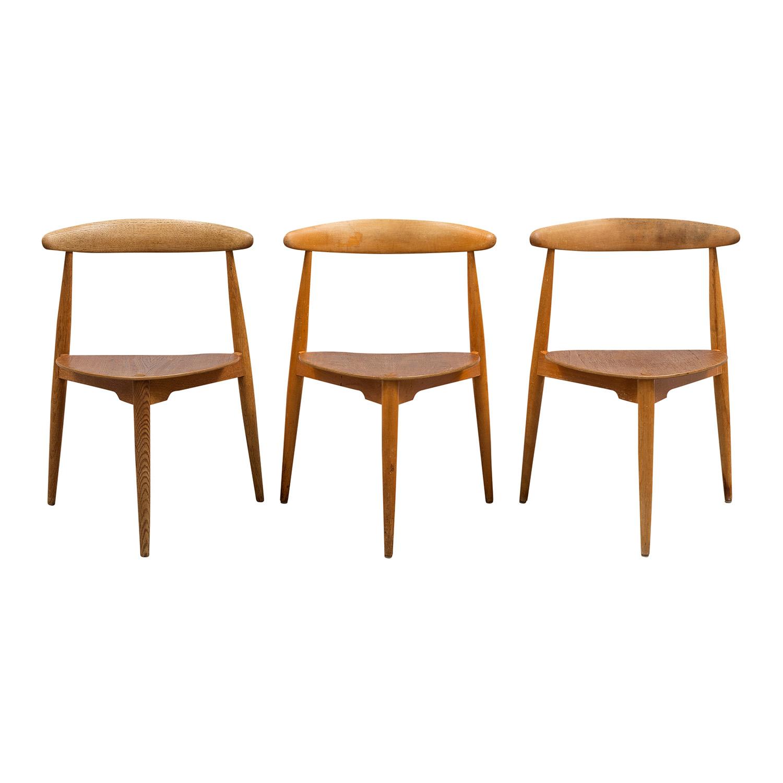 20th Century Brown Danish Set of Three Teakwood Side Chairs by Hans J. Wegner
