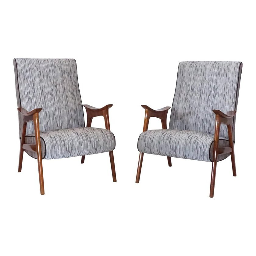20th Century Grey Pair of Scandinavian Lounge Chairs – Danish Corner Chairs