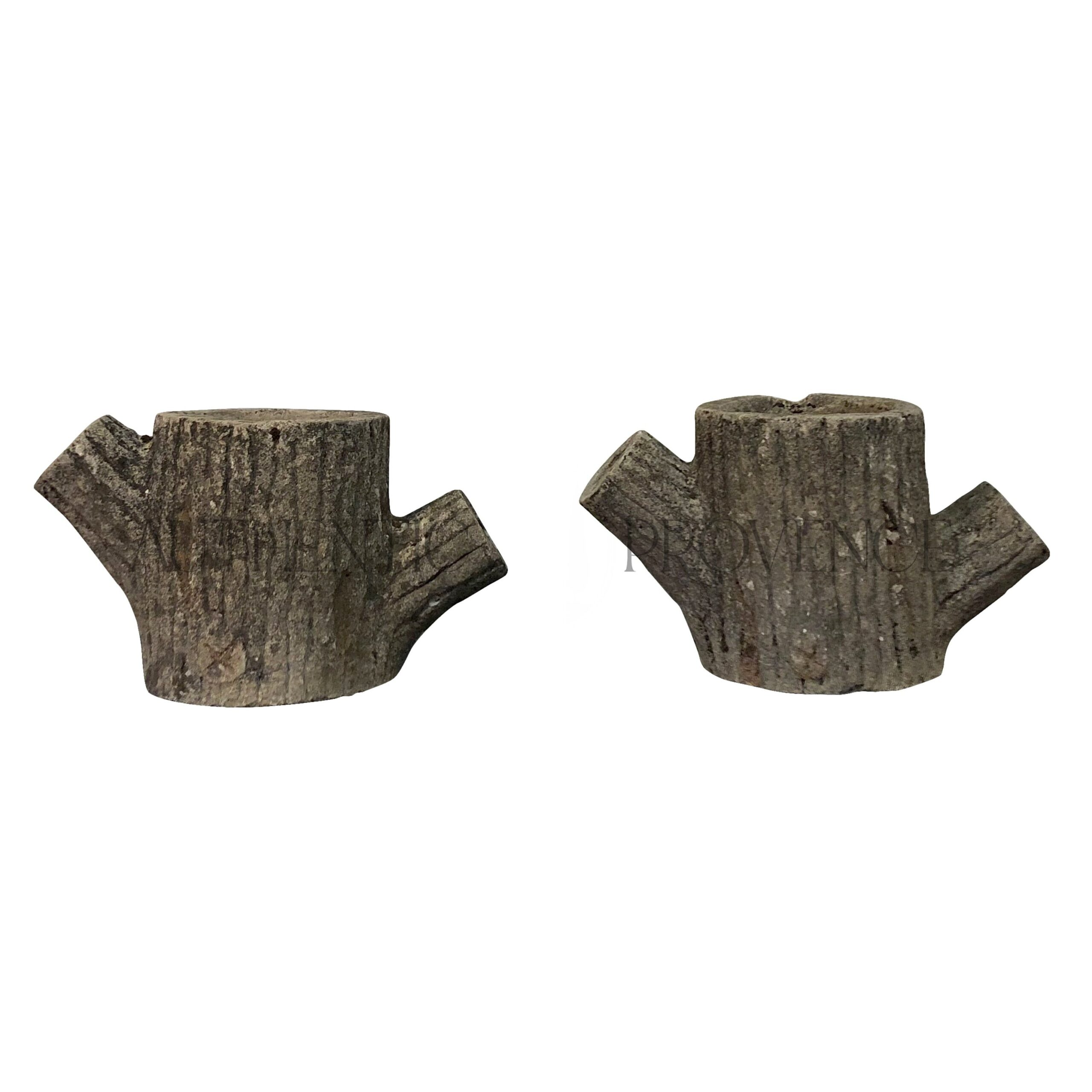 Pair of Vintage Faux Bois Planters