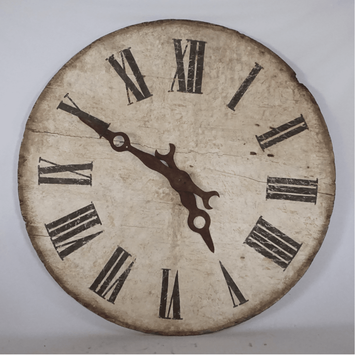 19th Century French Antique, Round Wooden Clock – Napoleon III Wall Décor