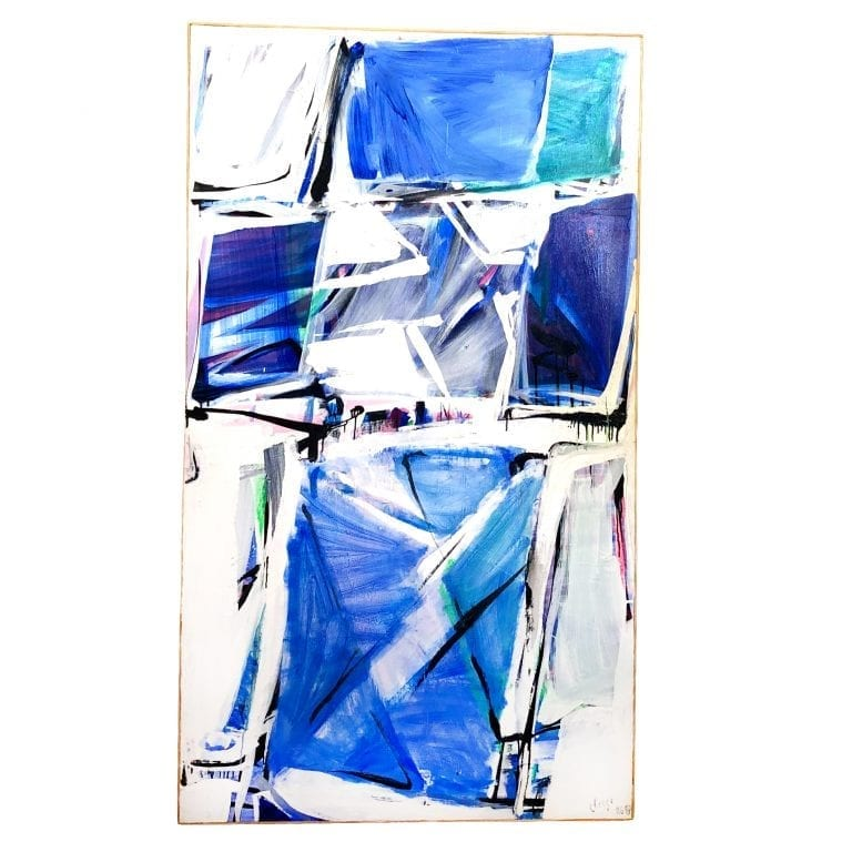 Blue and White Abstract Painting by Daniel Clesse