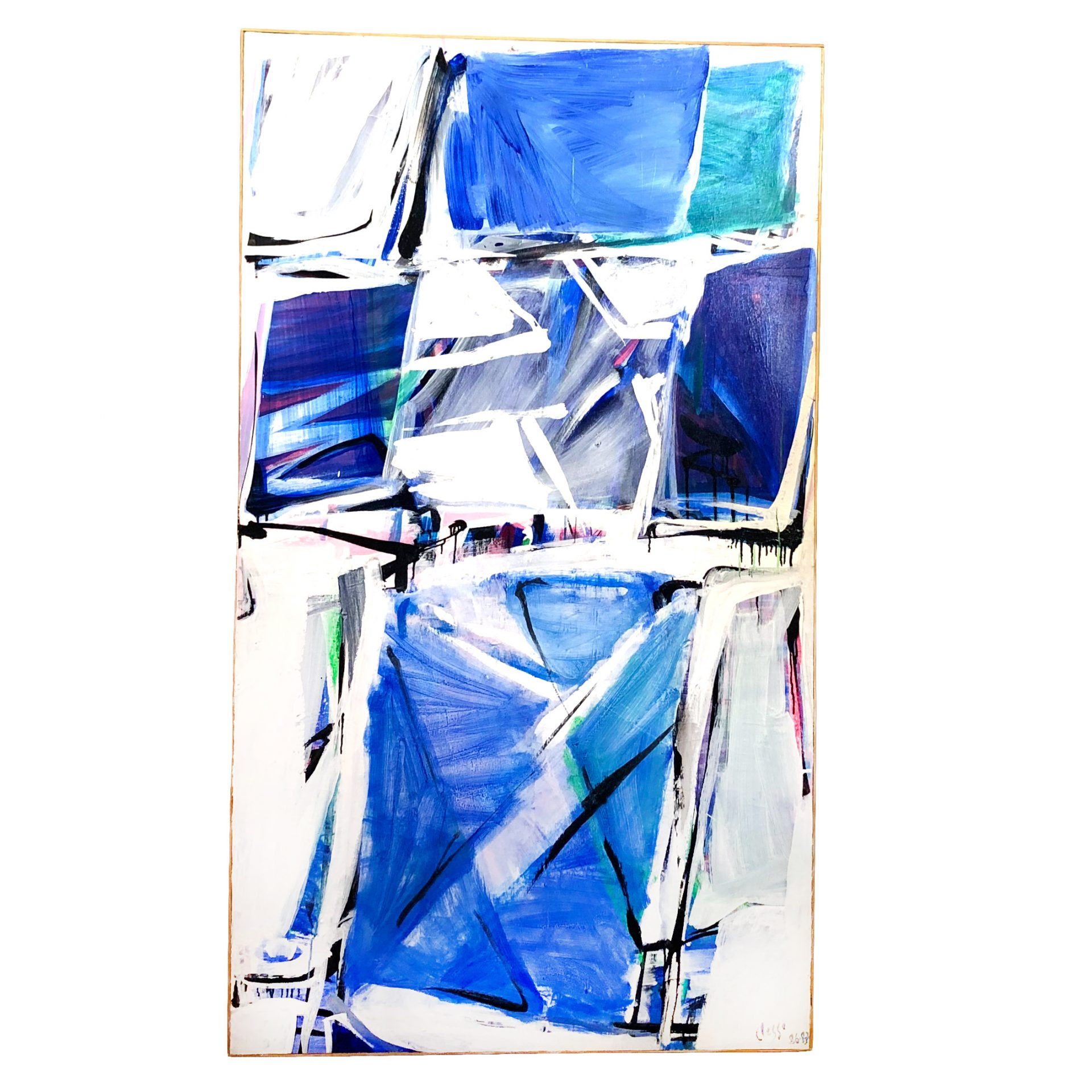 20th Century French Blue and White Abstract Painting by Daniel Clesse