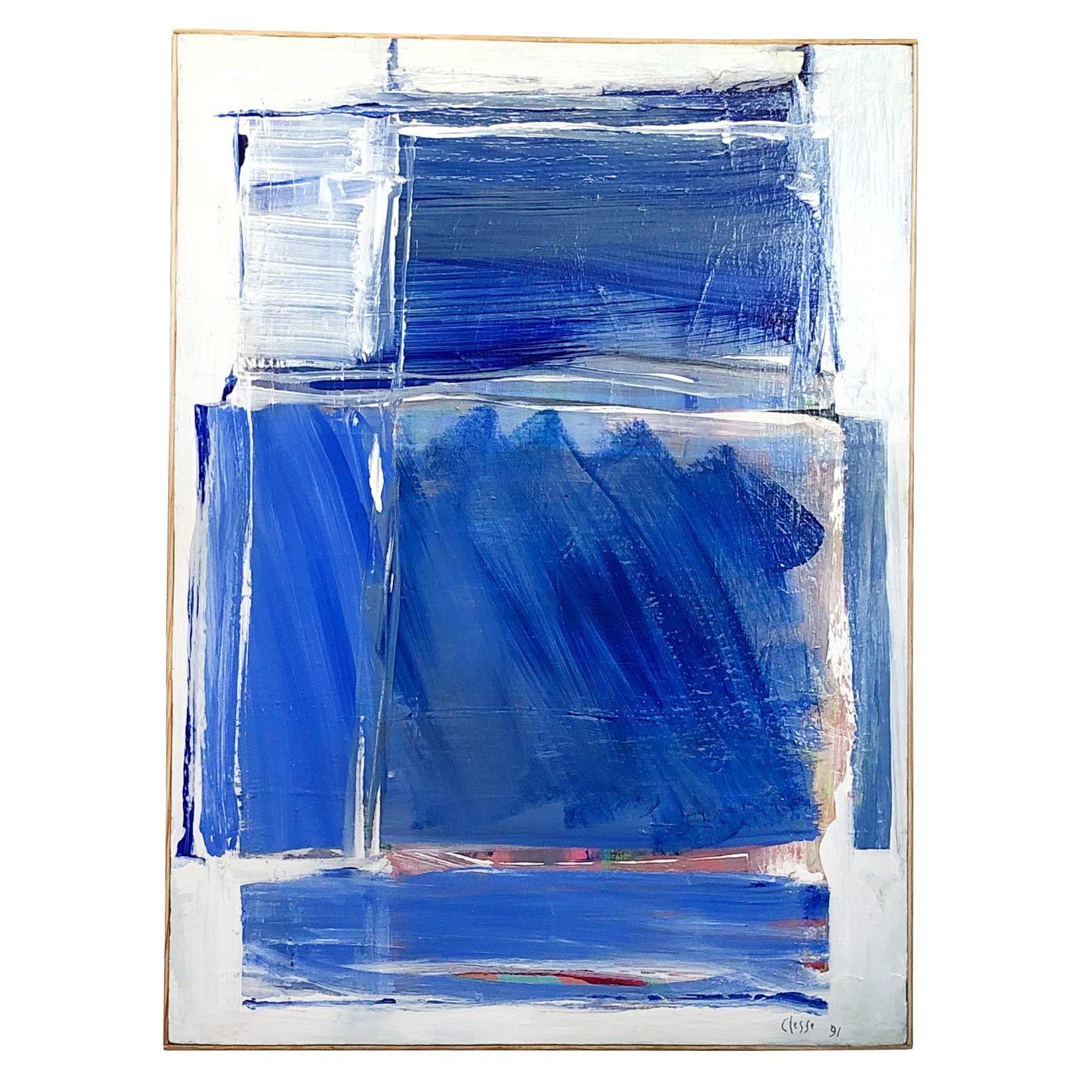 20th Century Light-Blue French Abstract Painting by Daniel Clesse