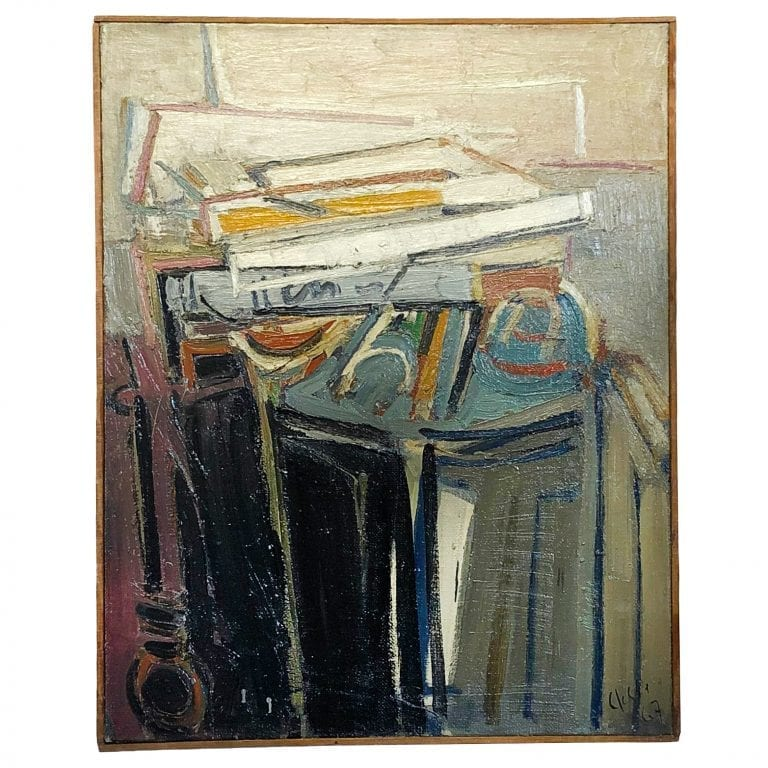 Abstract Painting of Books on a Console by Daniel Clesse