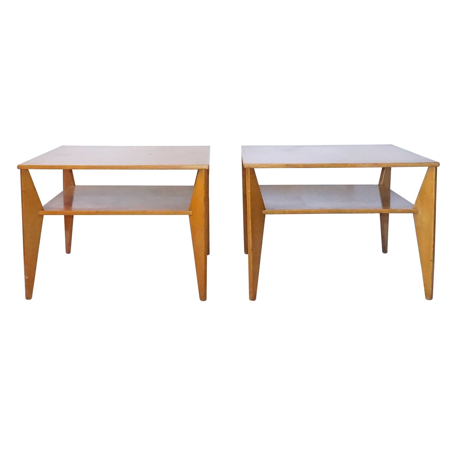 20th Century Swedish Pair of Two Tiers – Veneered Wood Side Tables