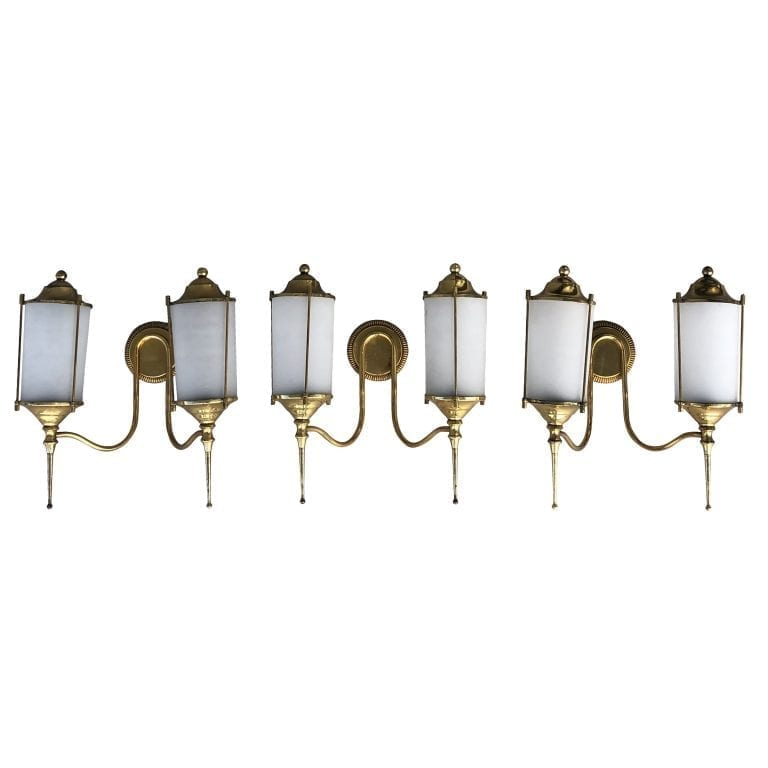 20th Century Set of Three Double Light Appliques – Italian Brass Wall Sconces