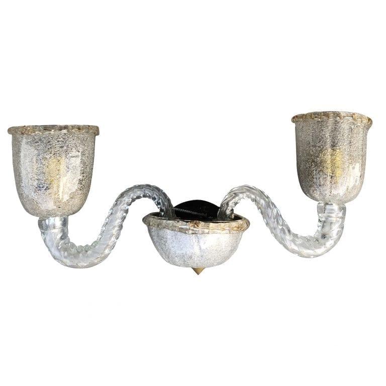 20th Century Italian Set of Three Murano Glass Wall Sconces