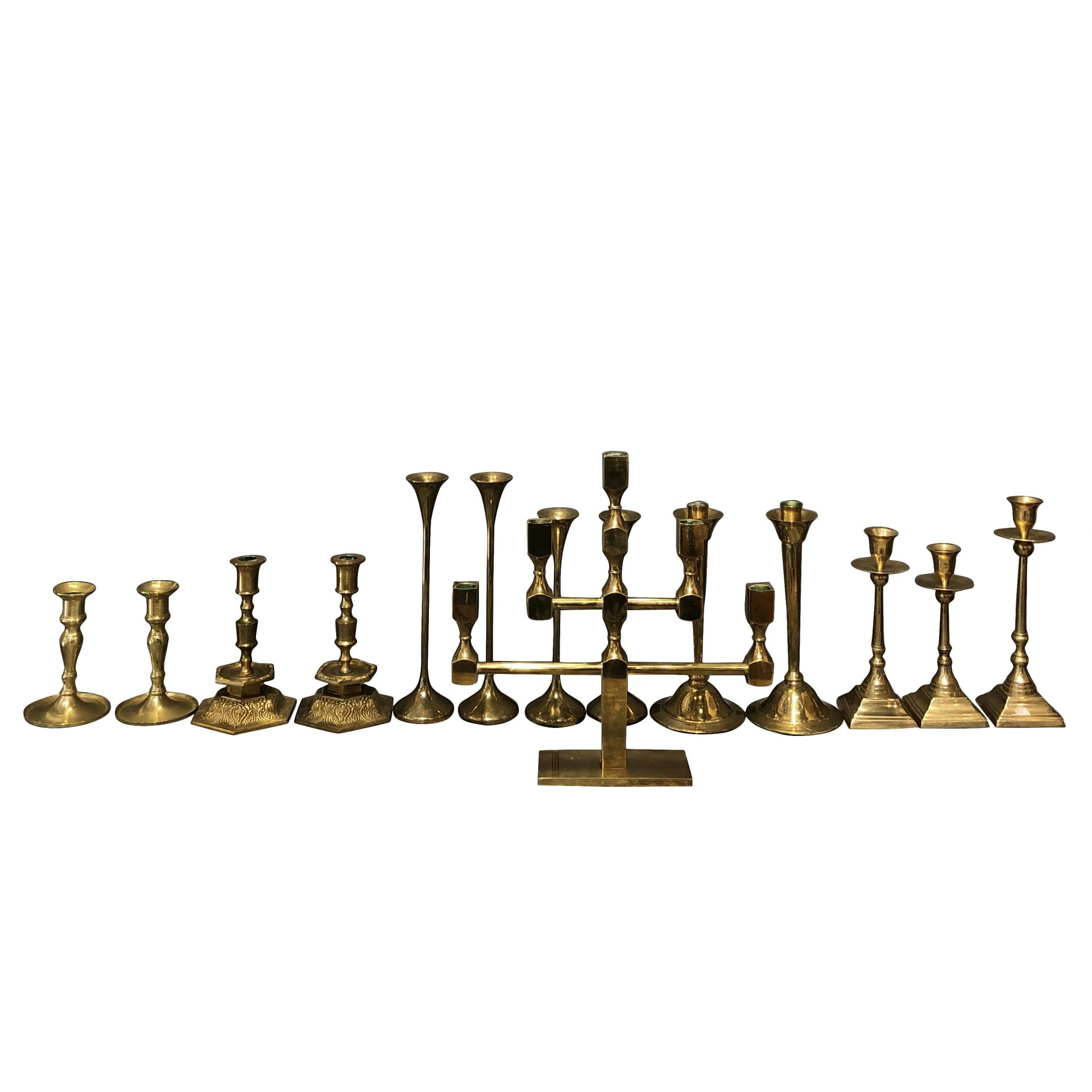 Collection of Fourteen Scandinavian Candlesticks