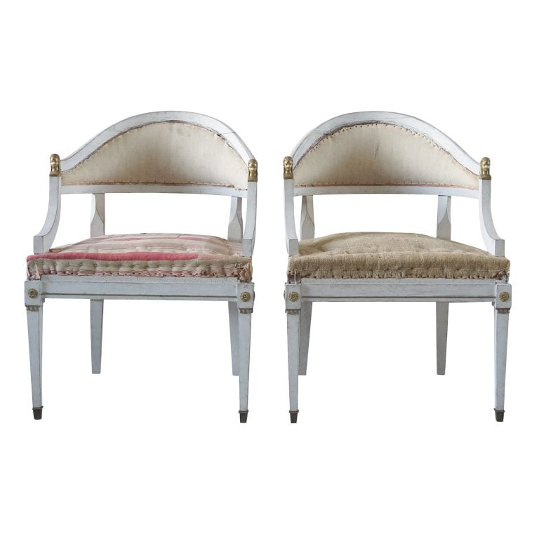 19th Century Pair of Swedish Gustavian Bronze Armchairs – Pinewood Side Chairs