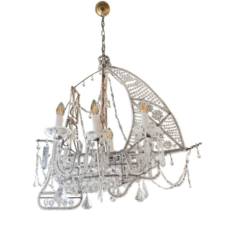 20th Century French Crystal Beaded Ship Chandelier Attributed to The Maison Baguès