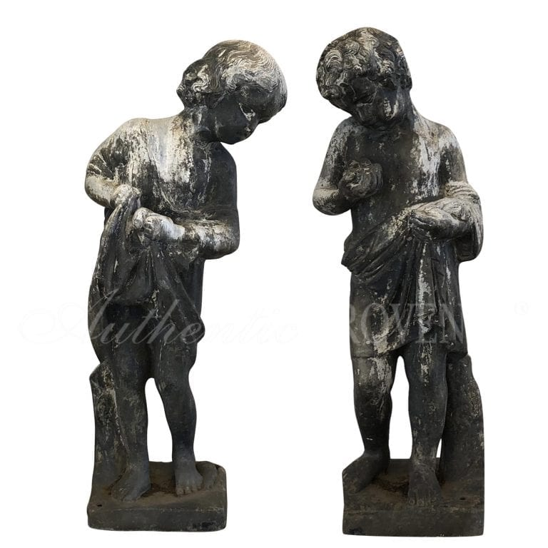 Pair of English Lead Cherubs
