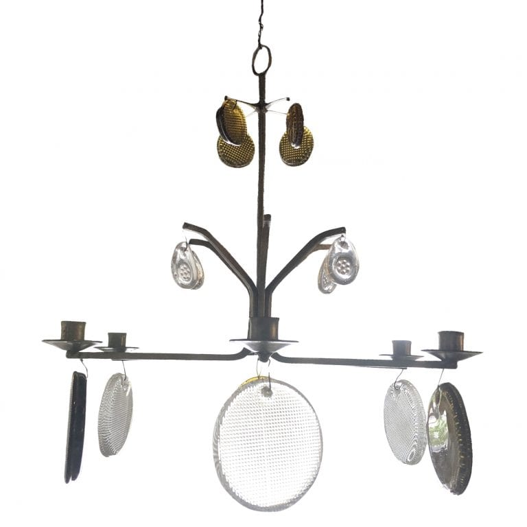 20th Century Swedish Wrought Iron Hanging, Ceiling Candelabra by Erik Hoeglund