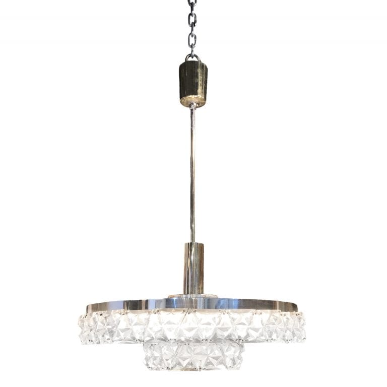 20th Century Orrefors Ceiling Lamp, Swedish Chrome Pendant by Carl Fagerlund