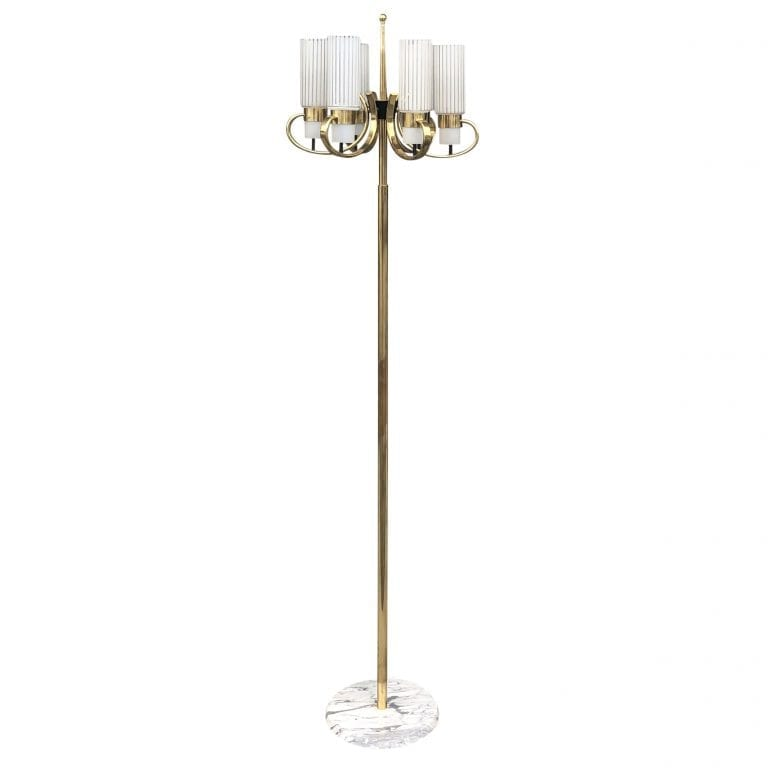 20th Century Italian Marble, Brass Floor Lamp by Stilnovo