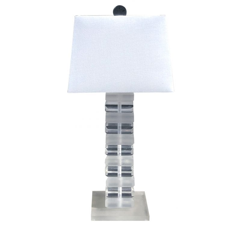 20th Century Clear Frosted Lucite Table Lamp in the Style of Karl Springer