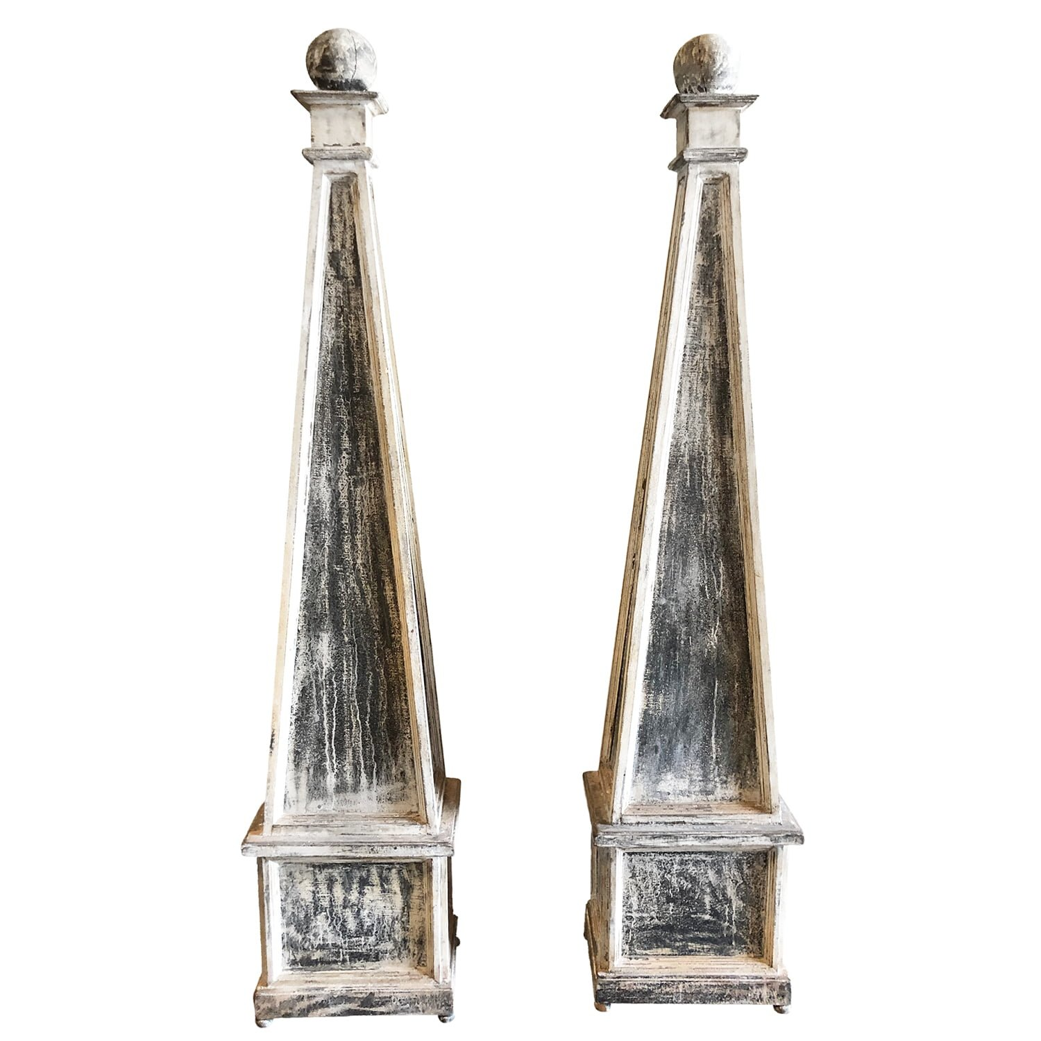 19th Century Grey Pair of Swedish Gustavian Obelisks – Antique Pinewood Décor