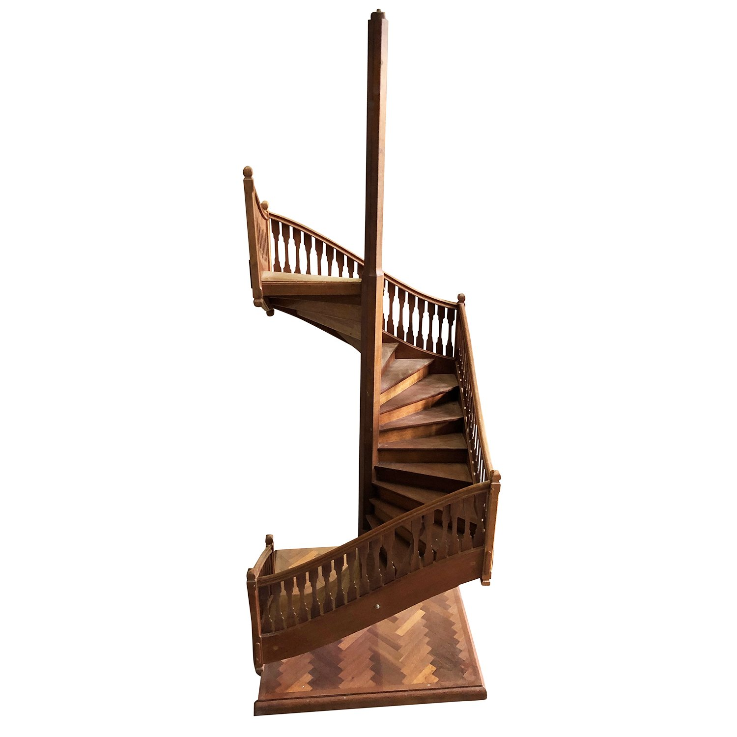 19th Century French Miniature Antique Spiral Staircase Architectural Model