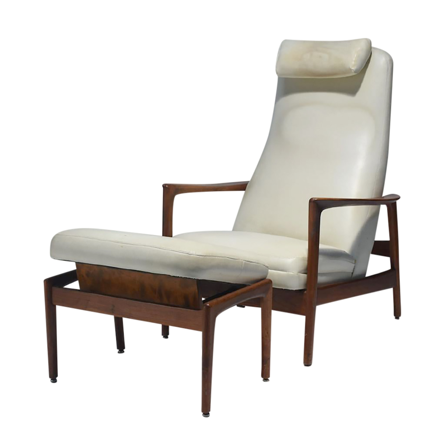 20th Century Swedish Walnut High Back Recliner Set by Dux