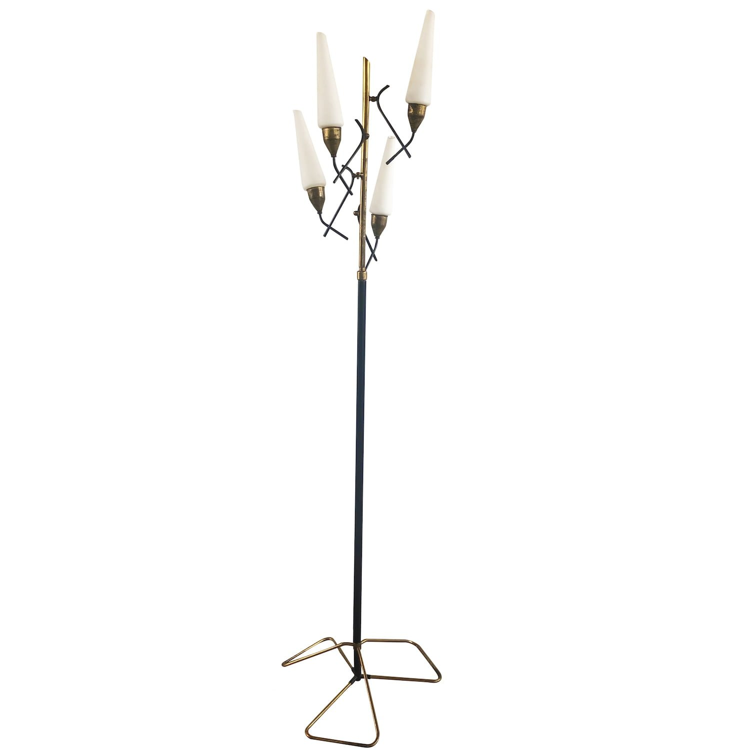 20th Century Italian Iron, Brass Floor Lamp by Stilnovo