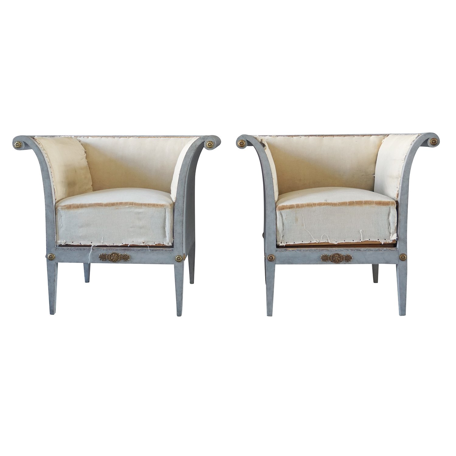 19th Century Pair of Bergères Fauteuils – Swedish Pinewood Armchairs
