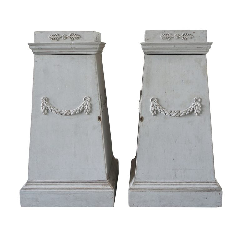 18th Century Grey Swedish Gustavian Pedestals – Neoclassical Pinewood Commodes