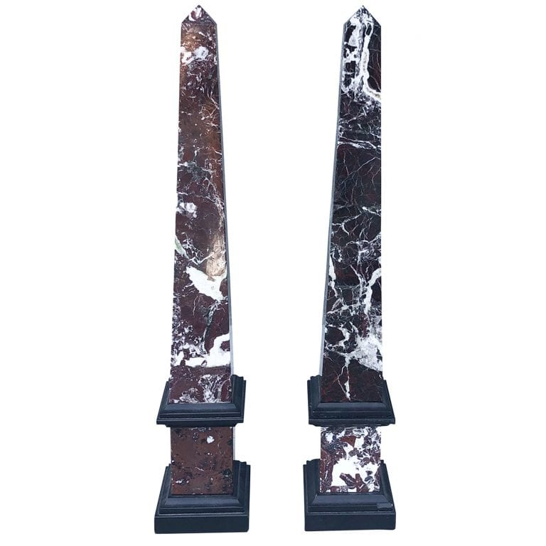 Pair of Mid-Century Marble Obelisks