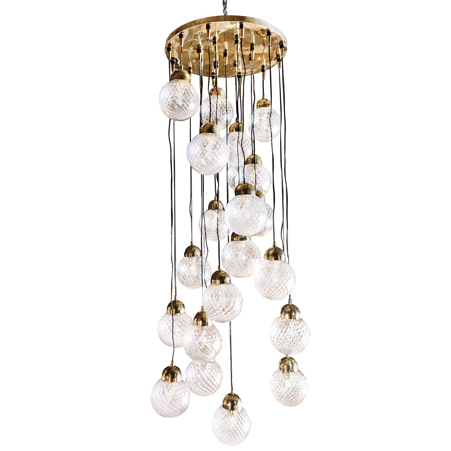 20th Century Italian Glass Shade Chandelier by Nardo
