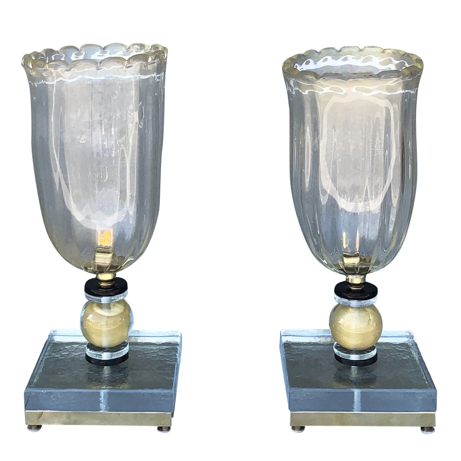 20th Century Vintage Italian Pair of Murano Glass Table Lamps by Nardo